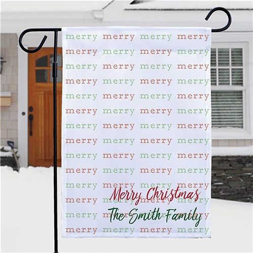 Personalized Merry Christmas Garden Flag