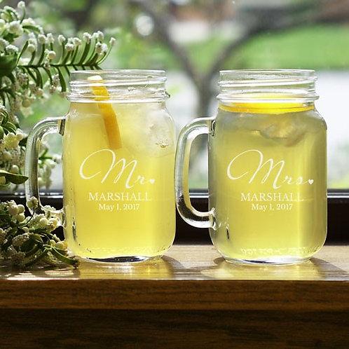 Mr. and Mrs. Personalized Mason Jar Set