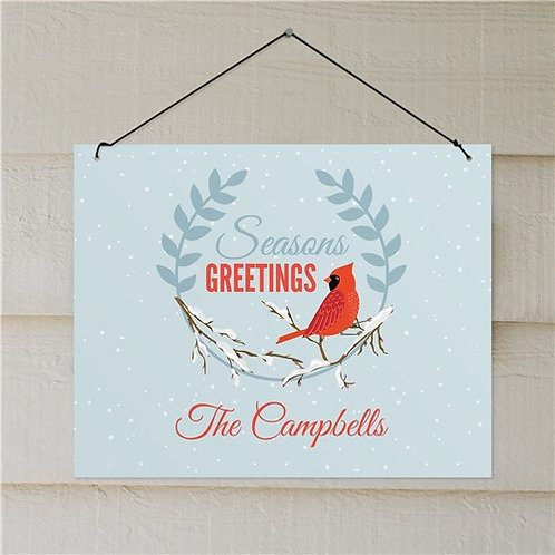 Personalized Seasons Greetings Cardinal Wall Sign