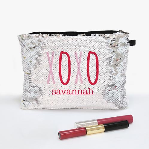 XOXO Sequin Makeup Zippered  Accessories Bag