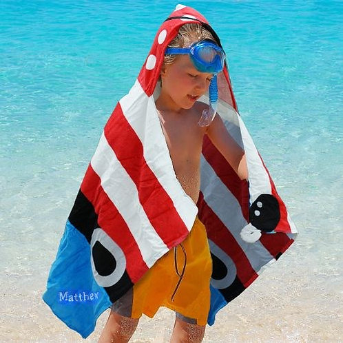Embroidered Pirate Hooded Beach Towel