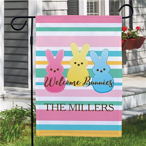 Personalized Welcome Bunnies Striped Garden Flag