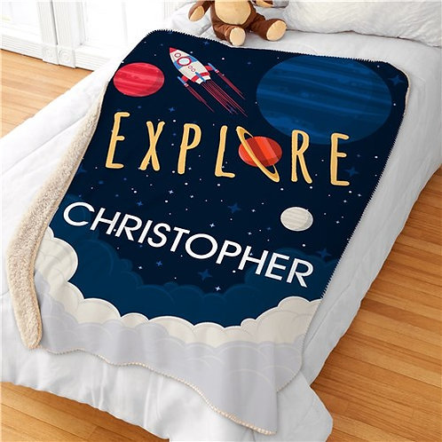 Personalized Explore Space Kids Sherpa Blanket