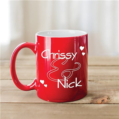 Couples Personalized Red Two-Toned Coffee Mug