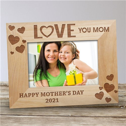 Personalized Love You Mom Wooden Picture Frame