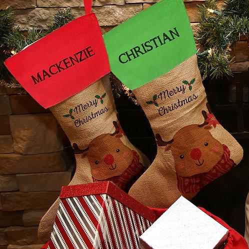 Merry Christmas Linen Custom Reindeer Stocking