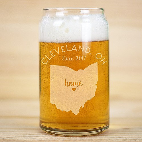 Personalized Home State Beer Can Glass