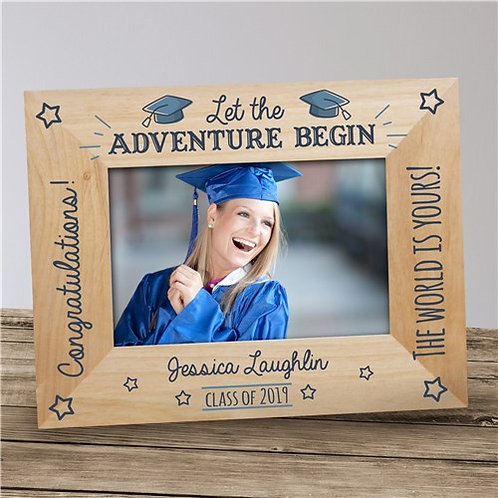 Engraved Let The Adventure Begin Wood Picture Frame