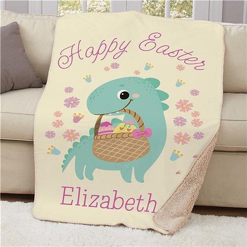 Personalized Happy Easter Dinosaur Holding Basket Sherpa Blanket