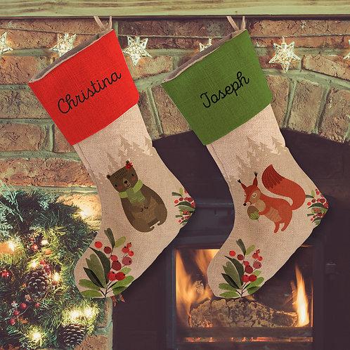 Custom Animal Christmas Linen Stocking