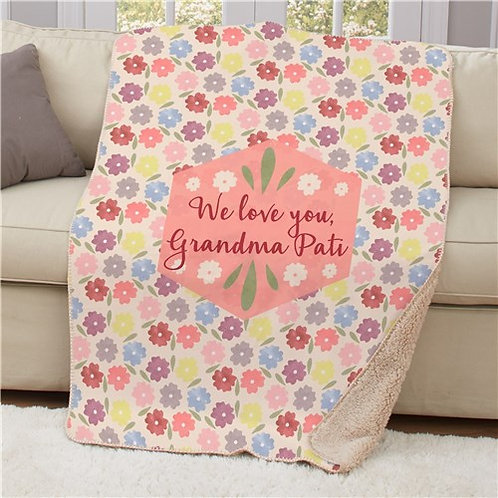 Personalized Floral Sherpa