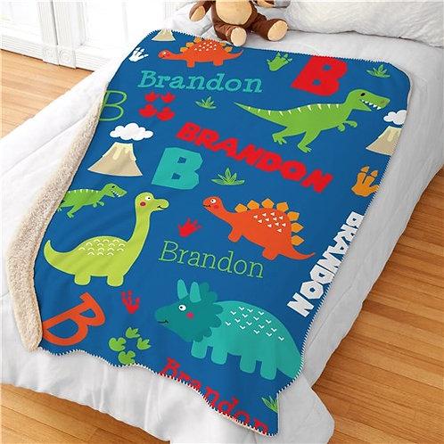 Personalized Dinosaur Sherpa Blanket