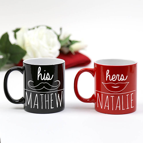 Personalized His & Her Ceramic Mugs