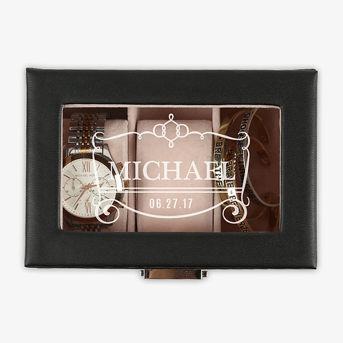 Personalized Name 3-slot Black Leather Watch Case