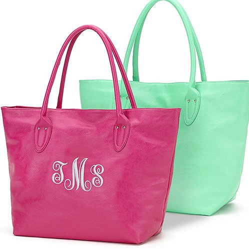 Tote Bag Leatherette with Embroidered Monogram
