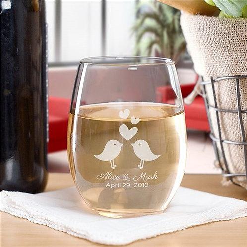 Personalized Love Birds Stemless Wine Glass