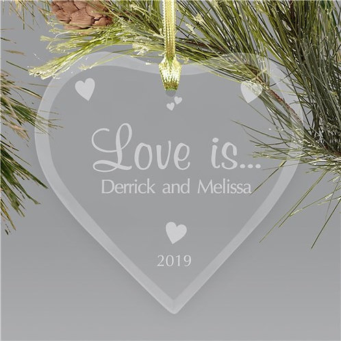 Couples Heart Glass Christmas Ornament