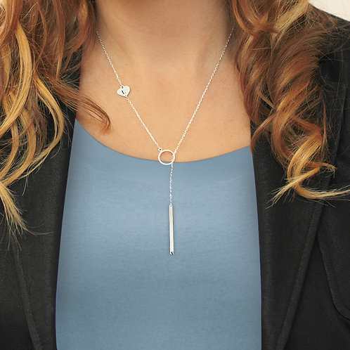 Sterling Silver Lariat Bar Necklace Personalized w/ Side Initial Heart Charm & S