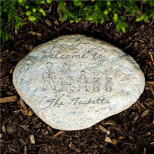 Engraved Stick Family Garden Stone