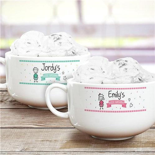 Personalized Stick Figure Ice Cream Bowl