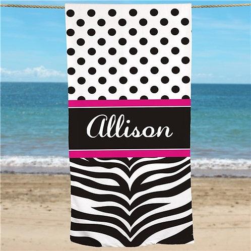 Personalized Zebra Print Beach Towel