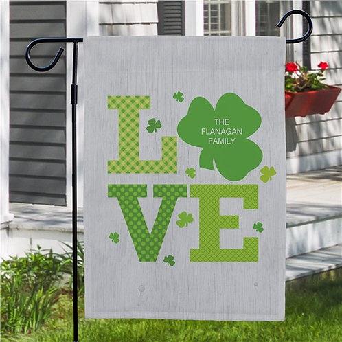 Personalized Shamrock Love Garden Flag