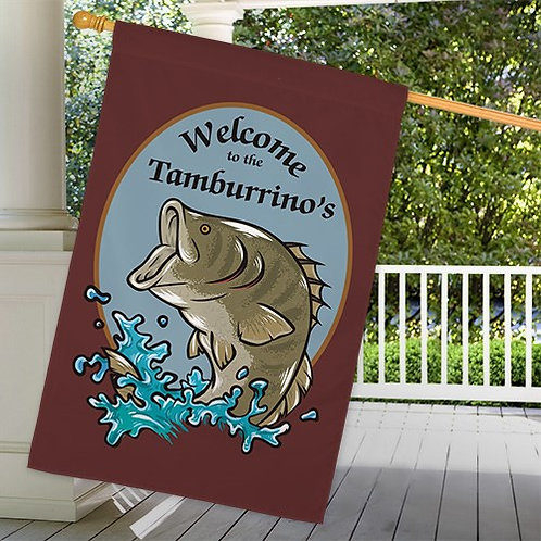 Personalized Bass Fishing Welcome House Flag