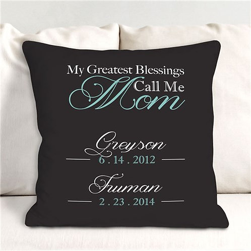 Personalized My Greatest Blessings Throw Pillow