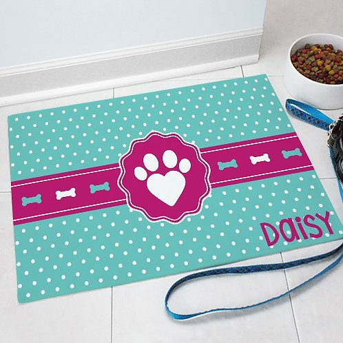 Personalized Heart Print Pet Mat