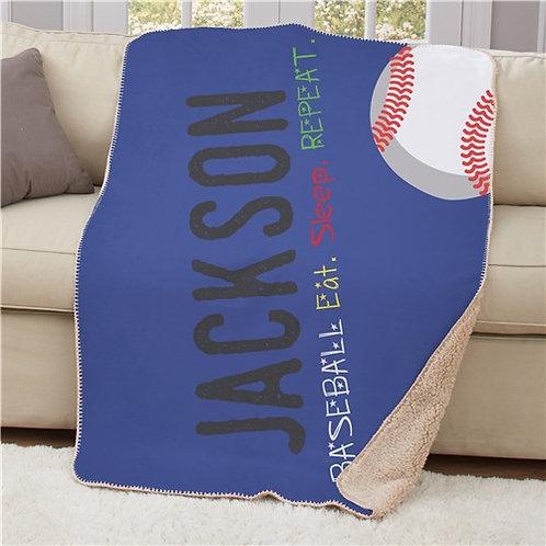 Personalized Eat Sleep Repeat 50x60 Sherpa Blanket