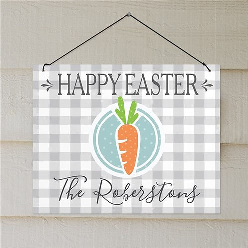 Personalized Happy Easter Carrot Wall Sign