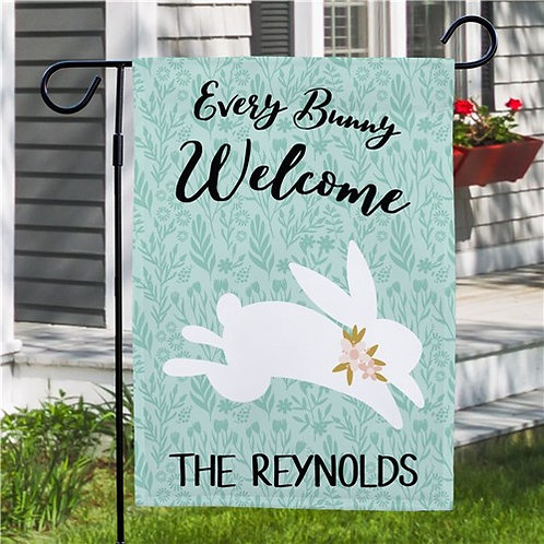 Personalized Every Bunny Welcome Garden Flag