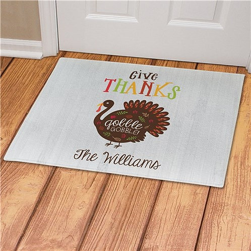 Personalized Give Thanks Gobble Gobble Doormat