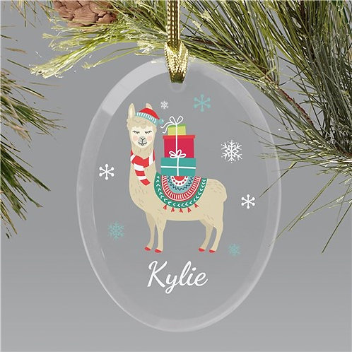 Personalized Christmas Llama, Cactus or Bird Glass Ornament
