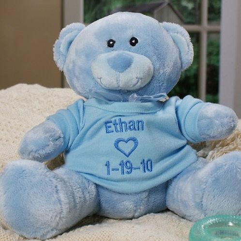 Embroidered New Baby Boy Blue Teddy Bear