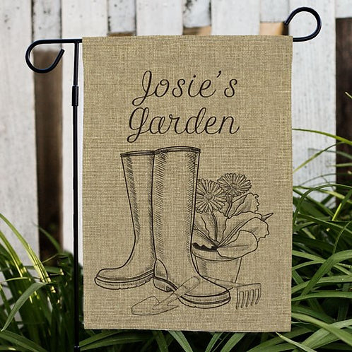 Personalized Spring Boots Burlap Garden Flag