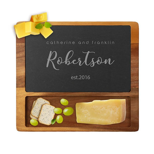 Personalized Established Couples Cheese Slate Board w/ Acacia Wood Base