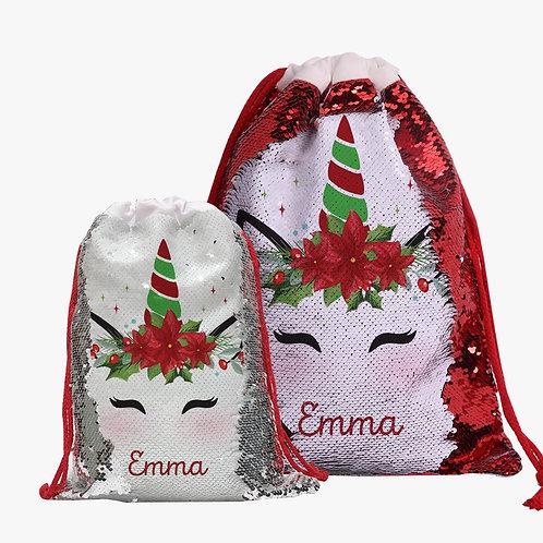 Custom Christmas Poinsettia Unicorn Sequin Drawstring Gift Sack | Personalized S