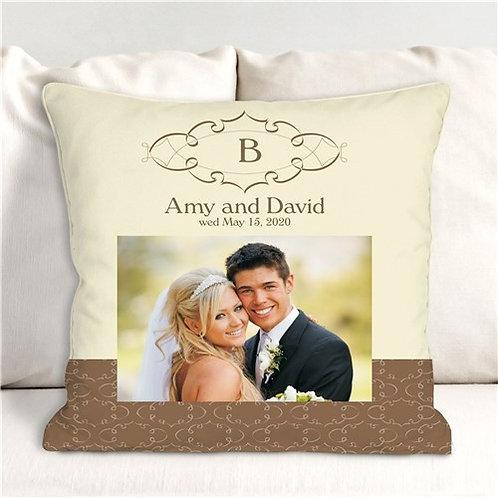 Wedding Day Personalized Photo Throw Pillow