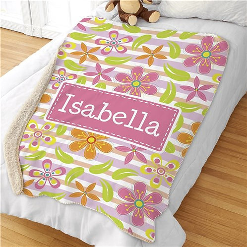 Personalized Floral Pattern Sherpa Blanket
