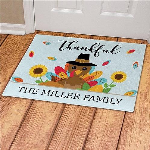 Personalized Thankful Turkey Doormat