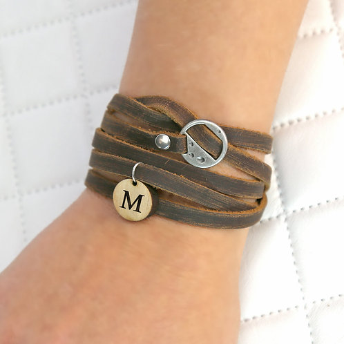 Custom Leather Wrap Bracelet With Wood Initial