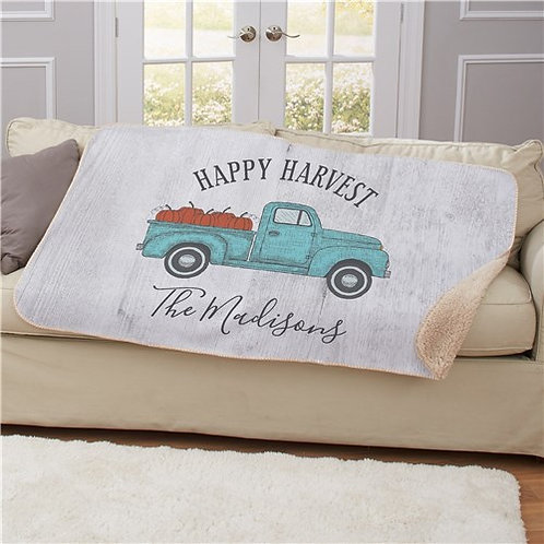 Personalized Happy Harvest Sherpa Throw