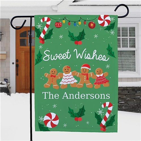 Personalized Sweet Wishes Gingerbread Garden Flag