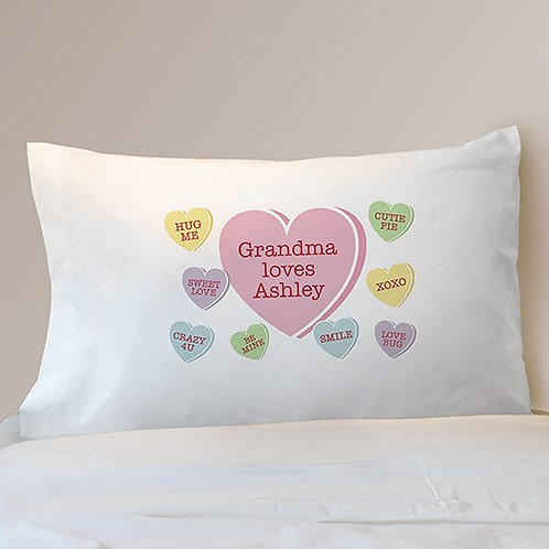 Personalized Conversation Hearts Pillowcase