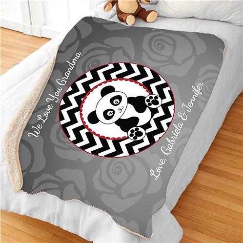 Personalized Love Panda Sherpa Blanket