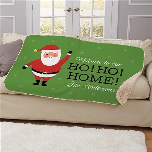 Personalized Ho Ho Home Sherpa Blanket