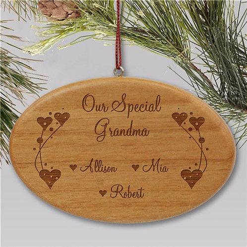 Engraved Grandma Wooden Oval Christmas Ornament