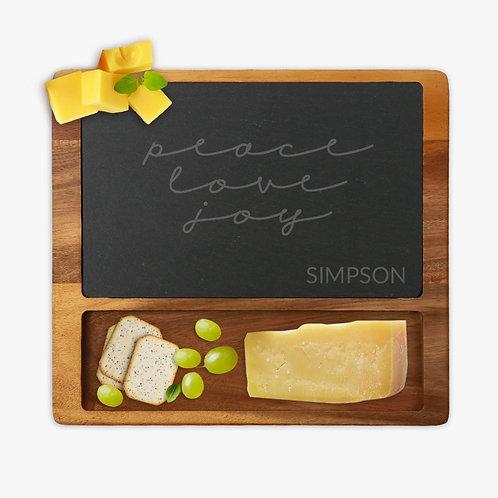Peace Love Joy Custom Square Cheese Slate Board w/ Acacia Wood Base