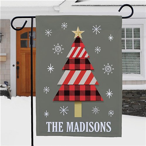 Personalized Christmas Tree Garden Flag